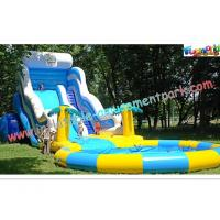 China Huge Rent Commercial Inflatable Slide, Blue Sport Water Slide Pool For Adults on sale