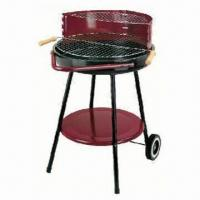 Quality Round BBQ Grill with trolley, simple grill BBQ, simple round charcoal grill wholesale