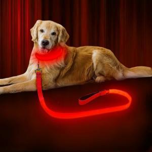 China USB Rechargeable LED Dog Leash , LED Reflective Pet Leash 47.2 Inch 120cm on sale