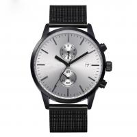 Quality Mens Mesh Strap Black Chronograph Watch wholesale