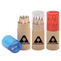 China 3.5 inch 6pcs natural  colour pencil set with sharpener custom gift mini color pencil on sale