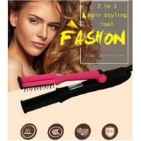 China Hair Straightening Crimping Brush Iron Curling Style 2 in 1 Without Damage Hair Straightener Flat Irons Hair Styling Too on sale