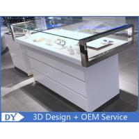 Quality Simple Nice Wooden Glass  Gloss White Jewellery Shop Counter wholesale