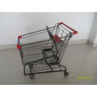 Quality Durable Grocery Shopping cart trolley With welded low tray and 4x4inch swivel lfat casters wholesale