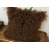 Quality Customized Color / Size Mongolian Sheepskin Decorative Throw Pillow 10-15cm Wool wholesale