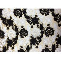 Quality Polyester Embroidered Lace Fabric With Black And White Floral Pattern For Apparel wholesale