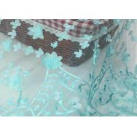 Quality Nigerian Dress Green Lace Fabric With 3d Flower / Lace Dress Fabric For Wedding wholesale