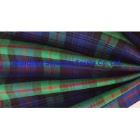 Cheap Green Blue Plaid Yarn Dyed Elastic Stretch Fabric Polyester Twill / Drill for for sale