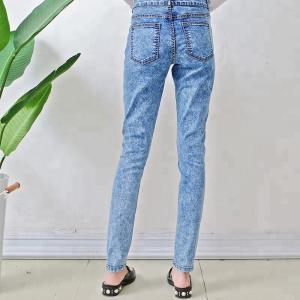 Quality Custom Blue Women Denim Skinny Jeans Color Fade Proof Full Length Eco Friendly wholesale
