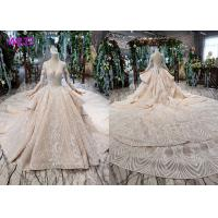Quality Tulle Wedding Bridal Ball Gowns Long Sleeves V Neckline Lace Applications wholesale
