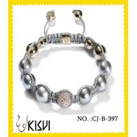 Quality Elegant designs CZ crystal & alloy 10mm beaded crystal bracelets with shiny beads wholesale
