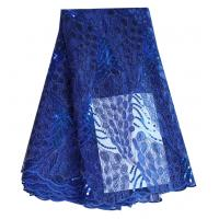 China Fashion bridal cord tulle lace royal blue polyester net lace fabric with sequins on sale