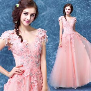 China Light Orange Stage Show Host Dress Elegant Evening Dresses TSJY041 on sale