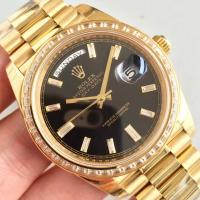 Buy cheap Wholesale 2016 Rolex Day-Date 228239 Full Yellow Gold 40mm Automatic 3255 Black Dial Diamonds Marks Diamonds Bezel Watch from wholesalers