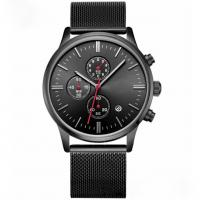 Quality Black Zinc Alloy Case Mens Quartz Watch Water Resistant For Young Men wholesale