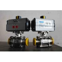 Cheap Food Grade Sanitary Pneumatic On Off Valve / Stainless Steel Actuated Ball Valves for sale