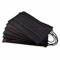 Quality Black Color 3 Ply Non Woven Face Mask Lint Free High Filtration Efficiency wholesale