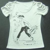 China Ladies knitted T-shirt with printing on sale