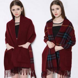 Quality Fashion Shawl Tassels red tartan plaid scarf knitting pattern pocket scarf wholesale