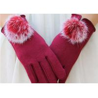 Cheap Wine Red Fleece Touchscreen Winter Gloves With Super Soft Lining Keeping Warm for sale