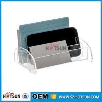Cheap china factory wholesale clear acrylic desk organizer with rubber feet for sale