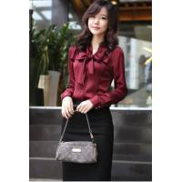 China New Arrival Stand Collar Bowknot Long Sleeves Satin Shirt,Cheap Korean Clothing on sale