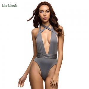 Quality Varleinsar Sexy Deep V Neck wrap around High waist one piece swimsuit women swimwear Female bathing suit swim wear Monok wholesale
