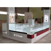 Quality Watch Custom Mall Kiosk Crystal Glass Combine Wood With LED Spot Lights wholesale