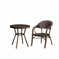 Quality No Fading Hand Woven PE Rattan Bistro Table And Chairs Set wholesale