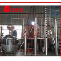 Quality 200L - 5000L Red Copper Alcohol Distiller , Whiskey Distilling Equipment wholesale