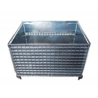 China Foldable Wire Mesh Stacking Baskets Cold Galvanized Steel Sheet Inside on sale