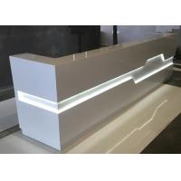 Quality White Matt Color Retail Checkout Counter With LED Light Inside OEM / ODM Service wholesale