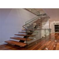 Quality Interior decoration wood tread stainless steel railing iron straight staircase wholesale