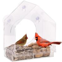 Cheap Wholesale Large Window Bird Feeder - Free Detachable Tray Acrylic Plastic bird feeder with water drain holes for sale