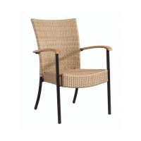Quality 63cm Length 60cm Width Stackable Wicker Patio Chairs Metal Frame wholesale