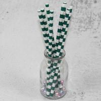 Quality 12mm Large caliber pearl milk tea Green Horizontal stripes color Biodegradable Paper Drinking Straws wholesale