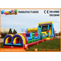 Quality Vertical Rush Inflatables Obstacle Course , 0.55mm PVC Tarpaulin Commercial Blow Up Slide wholesale