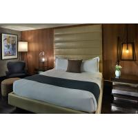 Hotel Standard Modern design Large Bed Room Leather Upholstered Headboard Bed with Walnut Laminated Side table