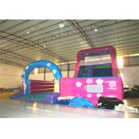 China Disney princess pink inflatable wide slide with jump area inflatable big dry slide bounce house on sale