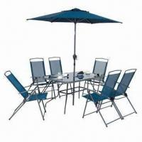 Quality Six Patio Chairs + 1 Patio Table (5mm Tempered Glass) + 1 Parasol with Crank & Tilt, Steel Frame wholesale