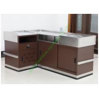 Quality Grocery Store Checkout Cash Register Wrap Counter Steel Coffee Reception Counter Desk wholesale