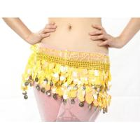 Quality Yellow Paillette Belly Dancing Hip Scarves , Professional Belly Dance Costumes Suit wholesale