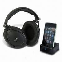 Quality Dual-Stereo Sound Wireless Headphones with iPod Docking Transmitter and Auto-turning Function wholesale