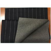 China Navy Background Vertical Stripe Twill Double Faced Wool Coating Fabric With Medium Grey on sale