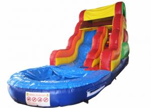 China Best sale rainbow inflatable water slide bright colour inflatable slide with pool on sale