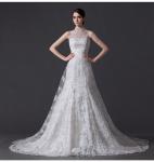 Quality Unique Pearl illusion neckline Halter Neck Wedding Dresses with Lace back wholesale