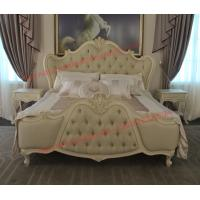 Quality Exquisite Fabric Padding Headboard with Solid Wood Bed in Ivory White Painting wholesale