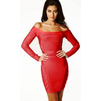 China Hot selling off the shoulder long sleeve red bandage party evening dress on sale