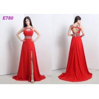 Quality Red Slit Sexy Cocktail Party Dress Beading Chiffon Dress For Evening Dress wholesale
