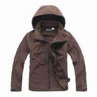 Quality Men's Soft Shell Jacket with Adjustable and Detachable Hood wholesale